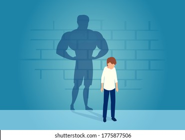 Vector of a sad weak man teenager standing depressed in front of a wall with his strong shadow of himself