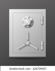 Vector safe Image. Armored box background. The door of a bank vault with a mechanical combination lock. Reliable Data Protection. Long-term savings. Deposit box icon.Protection of personal information