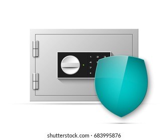 Vector safe shield image. Armored box background. Door bank vault & mechanical combination lock. Reliable Data Protection. Long-term savings. Deposit box shield icon.Protection of personal information