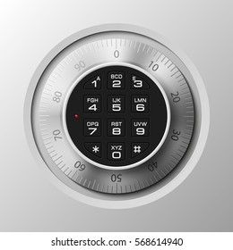 Vector safe. Strongbox icon. Armored box. Door bank vault, electronic combination lock. Reliable Protection. Long-term savings. Deposit box icon.Protection personal information