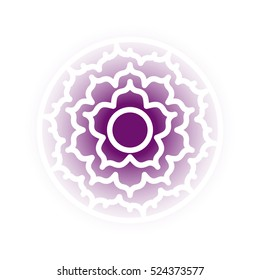 Vector Sahasrara chakra icon. Color yoga chakra symbol on white. Great for design, associated with yoga and India. Energetic point from Buddhism and Hinduism