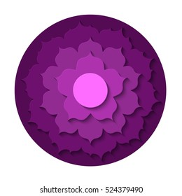 Vector Sahasrara chakra icon. Paper carve. Color yoga chakra symbol paper cut out style isolated on white. Great for design, associated with yoga and India. Energetic point from Buddhism and Hinduism