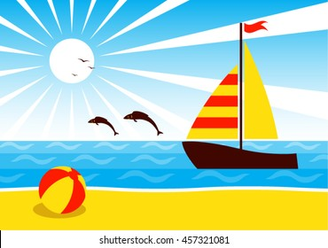 vector sailboat floating on the sea and fishes jumping over the sea