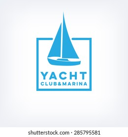 Vector sailboat logo for yacht club or marina