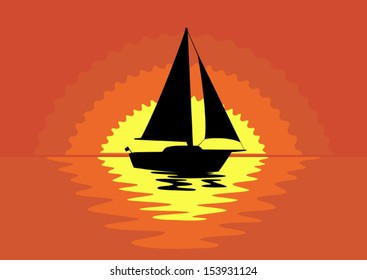 Vector sailboat silhouette at  sunset