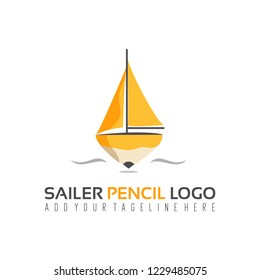 vector of sailer pencil logo