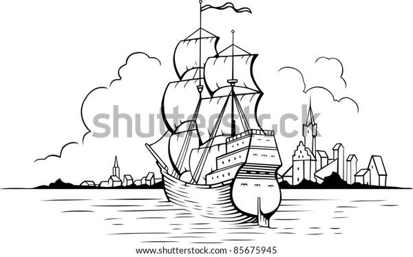 Vector sailing boat and town