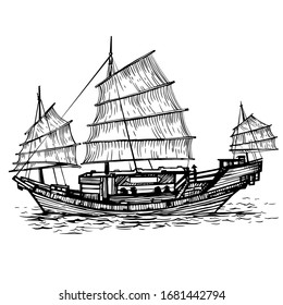 Vector sailing Chinese junk ship in the sea in the ink line style. Hand drawn doodle sketched sailing eastern boat.