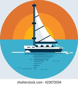 Vector Sailing Ship Yacht