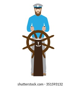 vector sailor. illustration of seaman captain with rudder