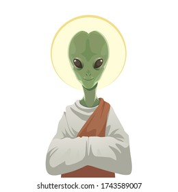 Vector saint alien in toga isolated on white. Cartoon alien with green skin and halo