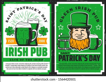 Vector Saint Patrick day Irish luck symbols of leprechaun in green hat with drum and shamrock lucky clover. Irish pub posters, St Patrick day holiday celebration bar beer mugs and pints
