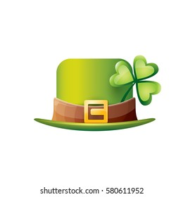 vector saint patrick's day green glossy hat with lucky clover isolated on white background. vector vintage leprechaun green cartoon hat label