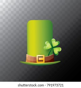 vector saint patrick's day green glossy hat with lucky clover isolated on transparent background. vector vintage leprechaun green cartoon hat with leather belt