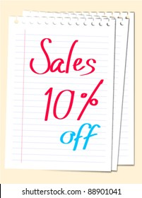 Vector sale 10% off sign on white paper