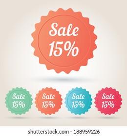 Vector sale 15% badge sticker