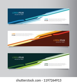 Vector sale banner backgrounds. Collection of web banner template in three different colors. Abstract geometric web design banner template. Header - landing page Web Design Element