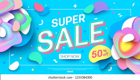 vector sale banner layout design for online shopping and printing