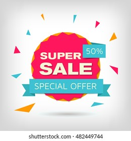 Vector sale banner. Pink and orange discount poster. Super sale badge with blue ribbon. Special offer 50%. Elements for web design, advertising and promotion