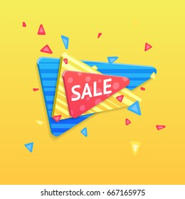 Vector sale banner, poster, flyer. Fresh creative design of sale template. Vector illustration of colorful triangles with different pattern.