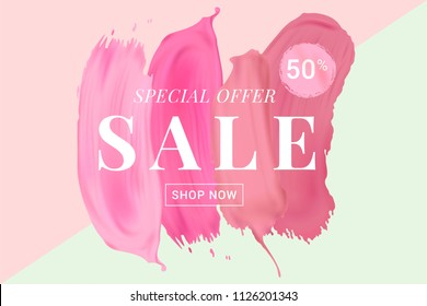 Vector sale banner with text on lipstick stokes background. Good for salons, beauty shops.