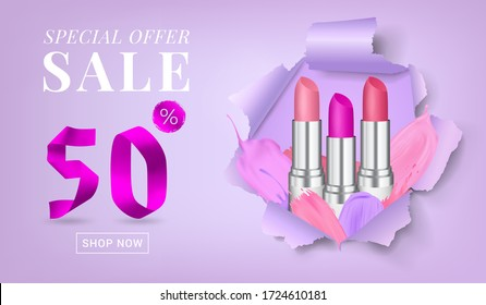 Vector sale banner with text on a torn paper background with round-shaped hole and rolled upsides, with lipsticks and lipstick strokes in it. Good for salons, beauty shops.