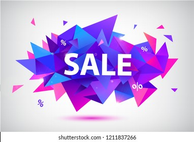 Vector sale facet crystal banner. 3d abstract shape poster, card, advertising.