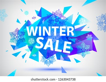 Vector sale facet crystal banner. 3d abstract shape poster, card, advertising. Blue color winter sale concept with snowflakes and ice, explosion. Christmas, new year offer