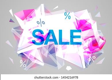 Vector sale facet crystal banner. 3d abstract shape poster, card, advertising. Rose color winter wholesale concept with ice crystal, explosion. Christmas, new year saler offer.