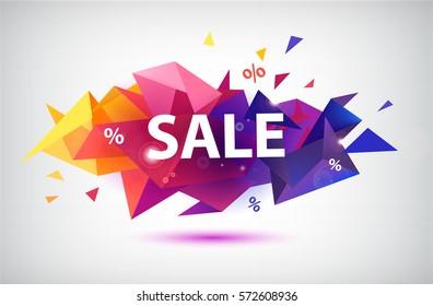 Vector sale faceted 3d banner, poster. Colorful illustration