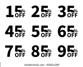 Vector Sale icon set. Discount price off and sales design template. Shopping and low price symbols. 15,25,35,45,55,65,75,85,95 percent sale.