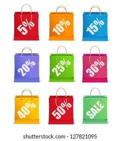 Vector sale labels like shopping bag