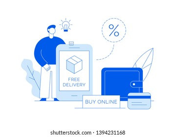 Vector sale online shopping modern banner with big man, delivery box, app screen and wallet