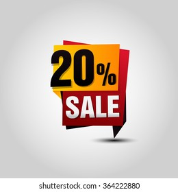 Vector Sale paper banner. Sale background. Big sale tag. Sale poster. 20% off for your design