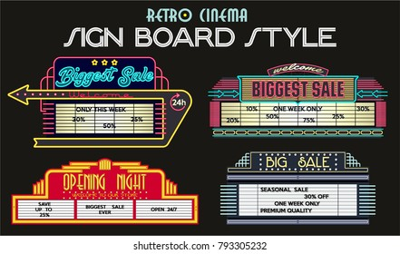 Vector Sale Signboard. Retro Cinema Stylization