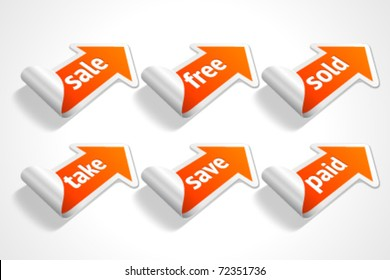 Vector sale stickers set. Transparent shadow easy replace background and edit colors.