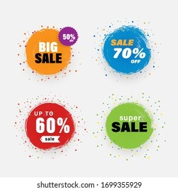 Vector sale tag with grunge style,circle brush banner.