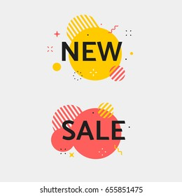 Vector sale tag. Set of circle flash sticker. Offer banner with price. Stripe new sticker with stars, zig-zag lines and sparkle flashes. Red and black color.