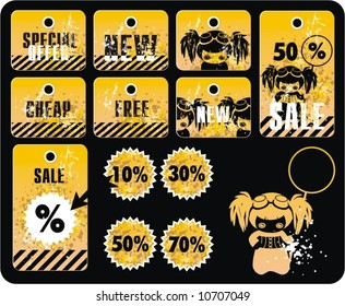 Vector sale tag stickers with discount.