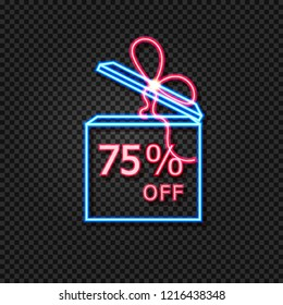 Vector Sale Tag Template, Gift Box Neon Frame with 75% Off Sign, Glowing on Dark Background Illustration.