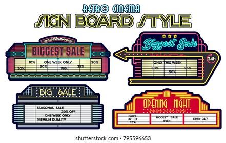 Vector Sales Advertisement Retro Cinema Signboards Style