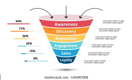 Vector sales funnel with arrows for marketing and startup business. Infographic template. Can be used for presentation slide. 6 steps, parts, options.