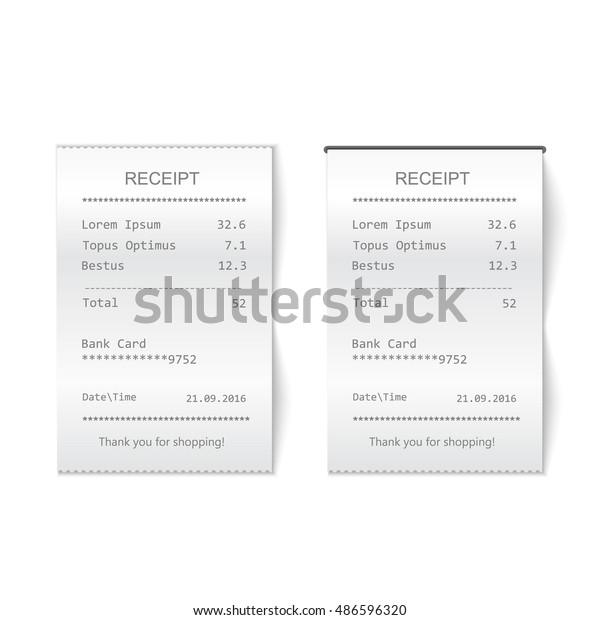 Vector Sales Printed Receipt Bill Atm Stock Vector (Royalty Free
