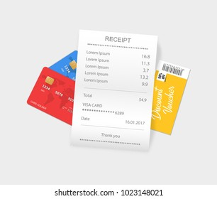 Vector sales printed receipt with credit card, discount coupon. Bill atm template, cafe or restaurant paper, financial check. Vector illustration