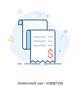 Vector sales receipt, line icon