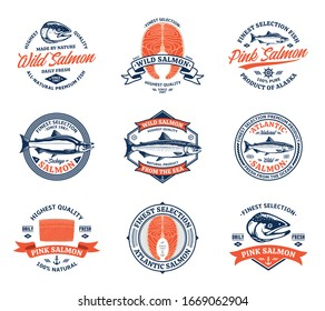 Vector salmon blue and orange logo on a white background. Salmon fish illustrations, raw steaks and fillet. Modern style seafood labels or groceries, fisheries, packaging and advertising