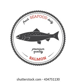 Vector salmon silhouette. Template for stores, markets, food packaging. Seafood illustration.