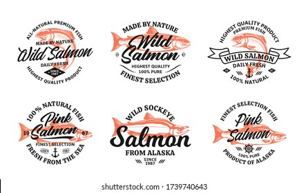 Vector salmon vintage logo on a white background. Atlantic, chinook, sockeye and pink salmon fish illustrations for groceries, fisheries, packaging, and advertising
