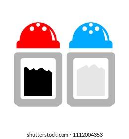 vector salt and pepper shaker? restaurant sign symbol - flavor ingredient taste