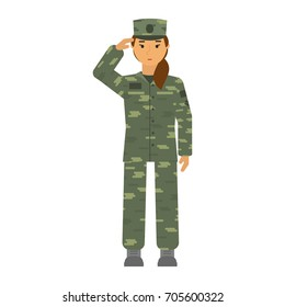 Vector saluted soldier woman in camouflage isolated on white background